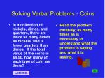 solving verbal problems coins