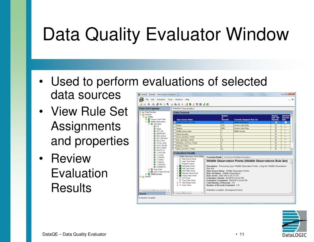Data Quality Evaluator Window
