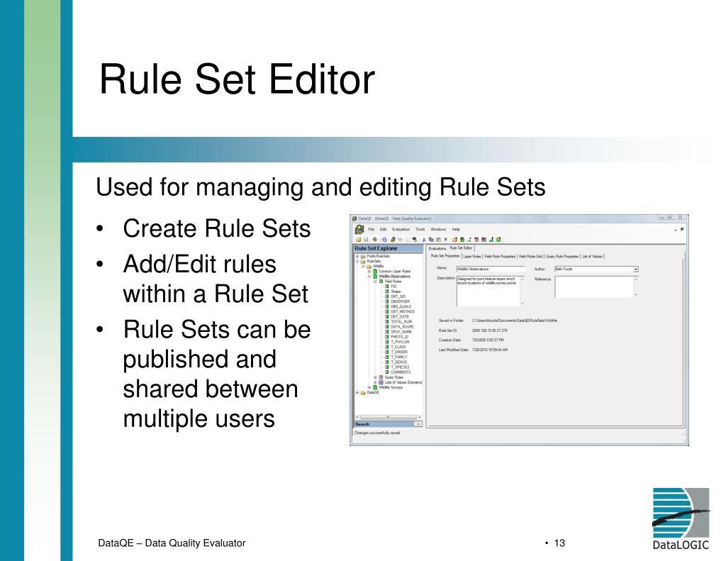 Rule Set Editor