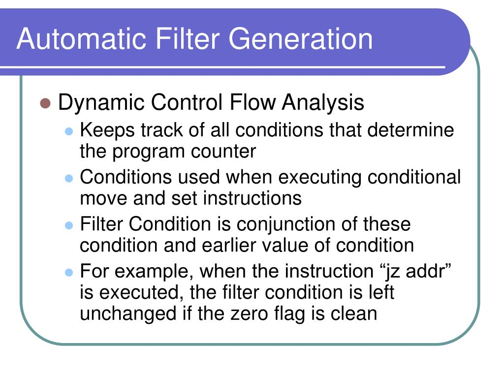 Automatic Filter Generation