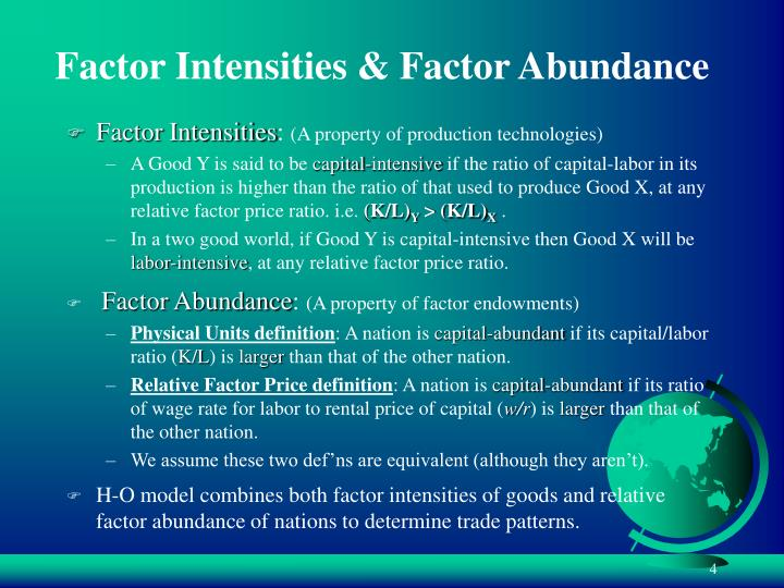 Factor Intensities & Factor Abundance