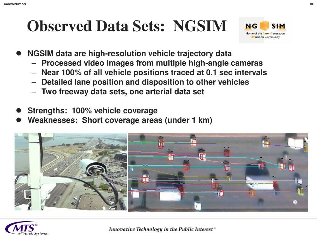Observed Data Sets:  NGSIM