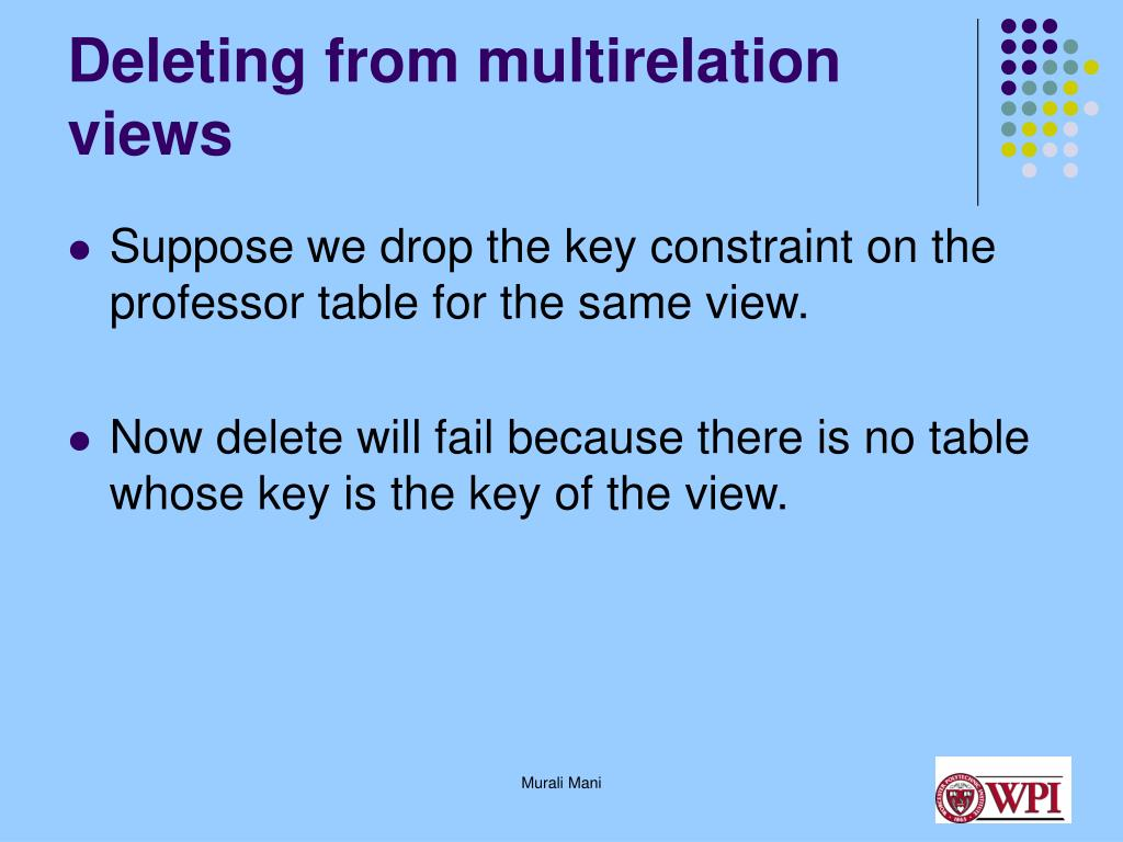 Deleting from multirelation views