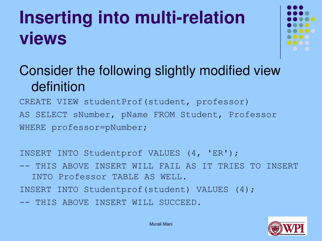Inserting into multi-relation views