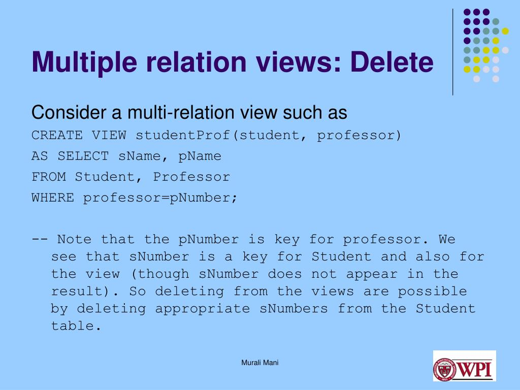 Multiple relation views: Delete