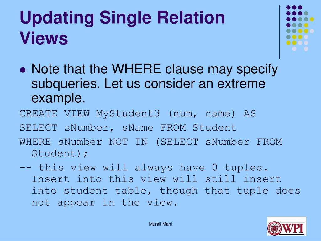 Updating Single Relation Views
