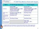 fy 2007 key metrics panel with targets