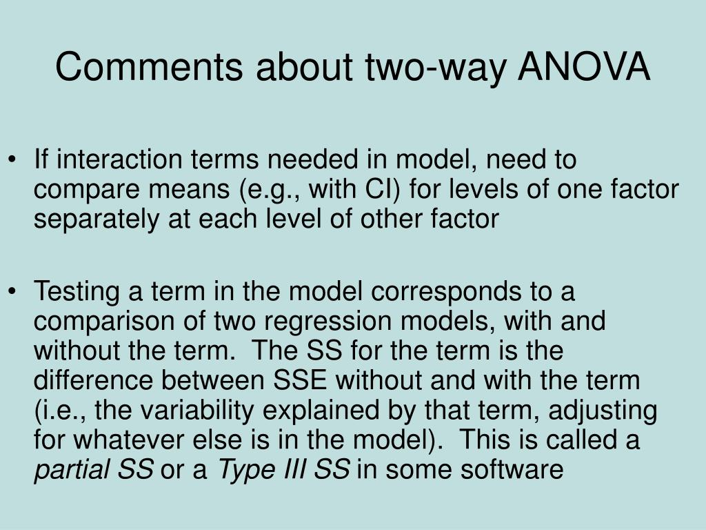 Comments about two-way ANOVA
