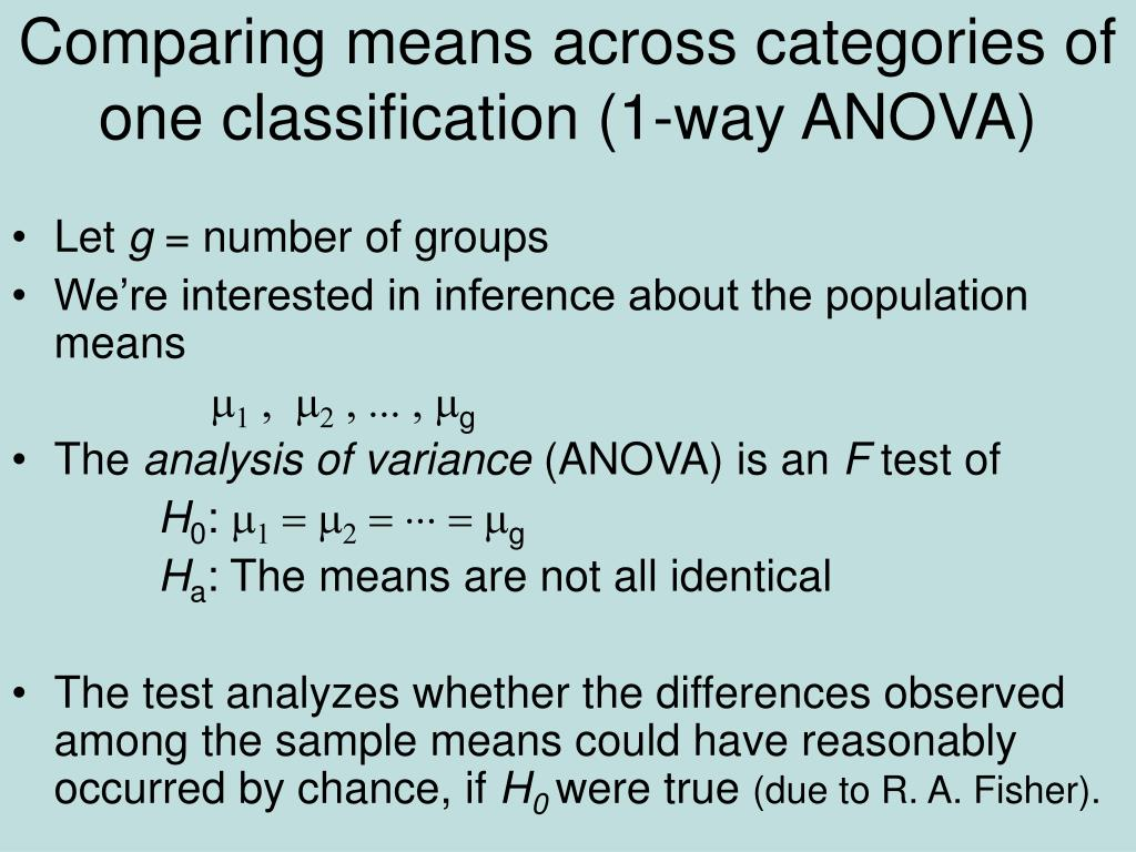 Comparing means across categories of one classification (1-way ANOVA)