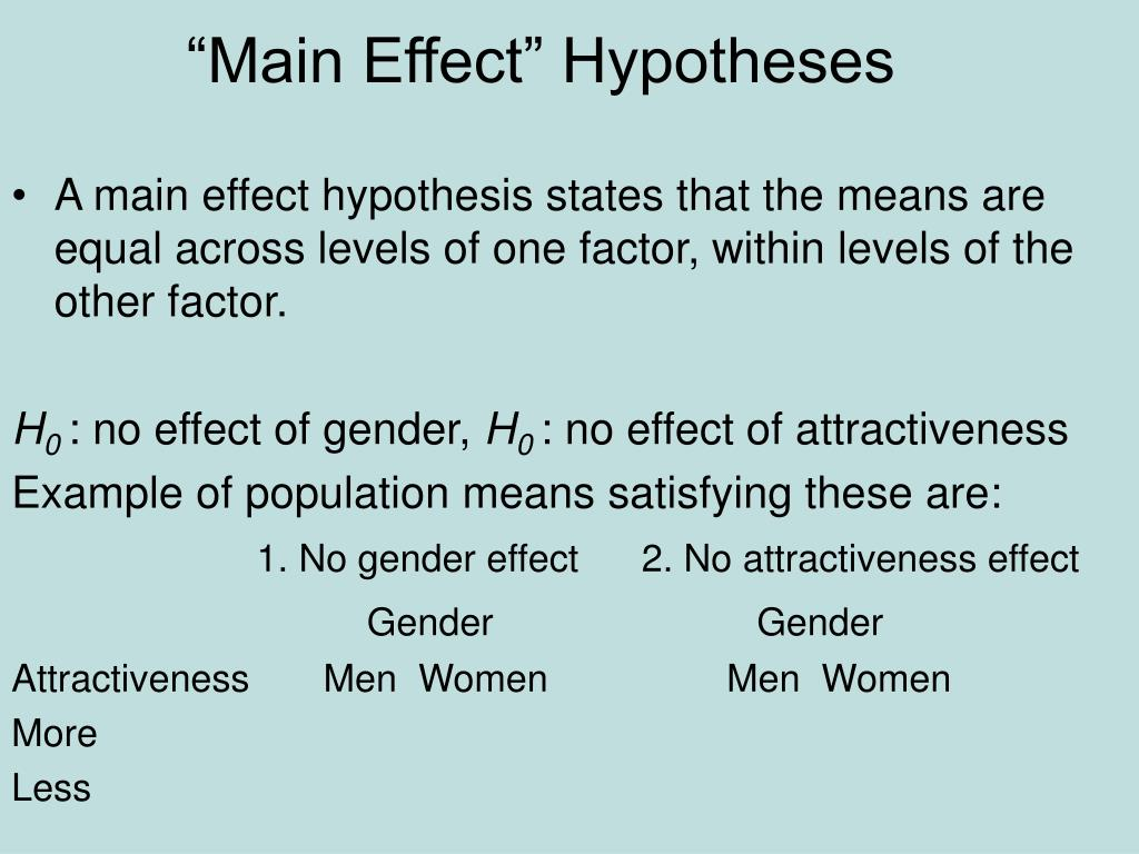 """""""Main Effect"""" Hypotheses"""