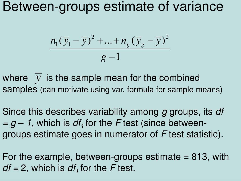 Between-groups estimate of variance