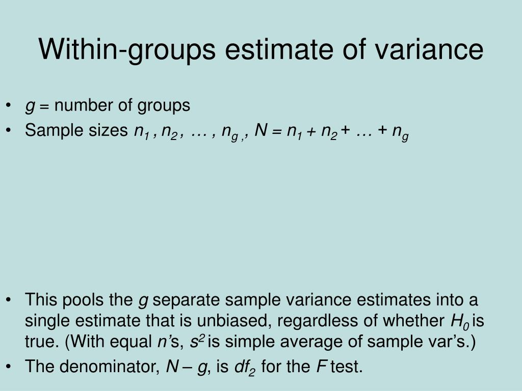 Within-groups estimate of variance