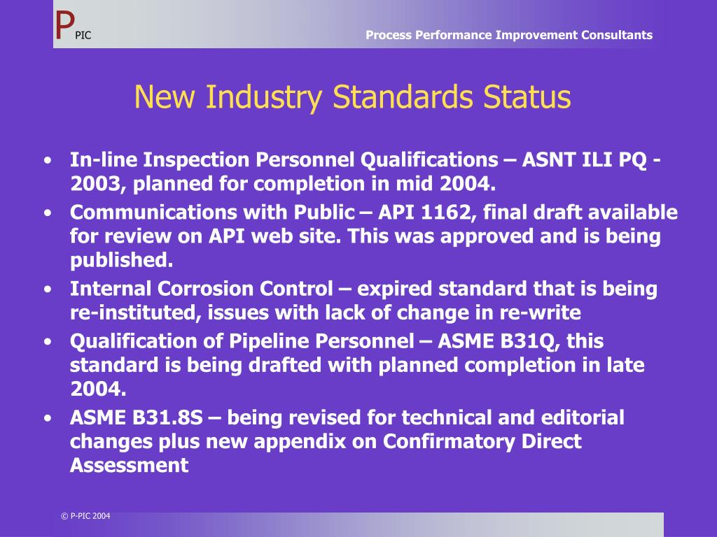 New Industry Standards Status