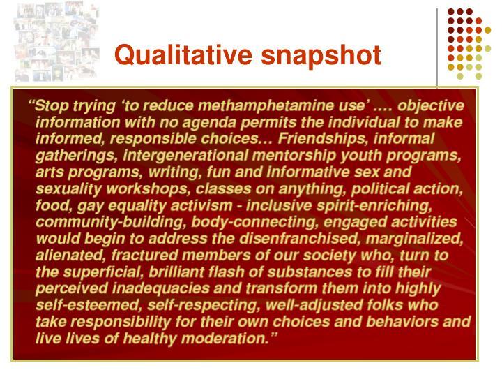 Qualitative snapshot
