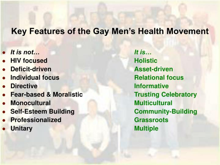 Key Features of the Gay Men's Health Movement