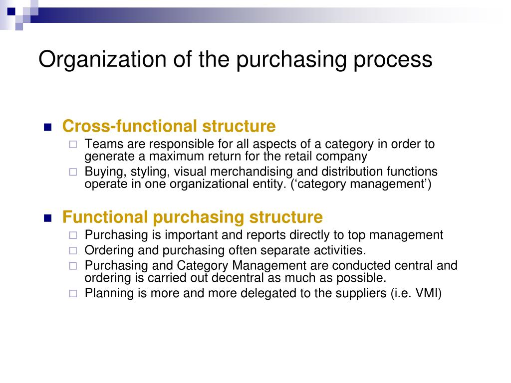 Organization of the purchasing process