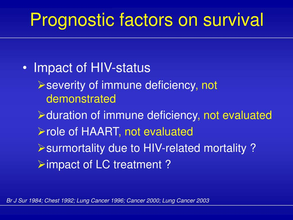 Prognostic factors on survival