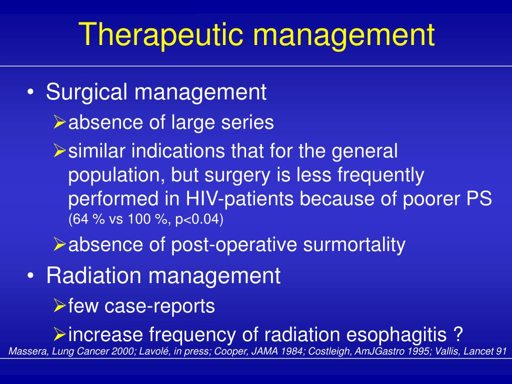 Therapeutic management