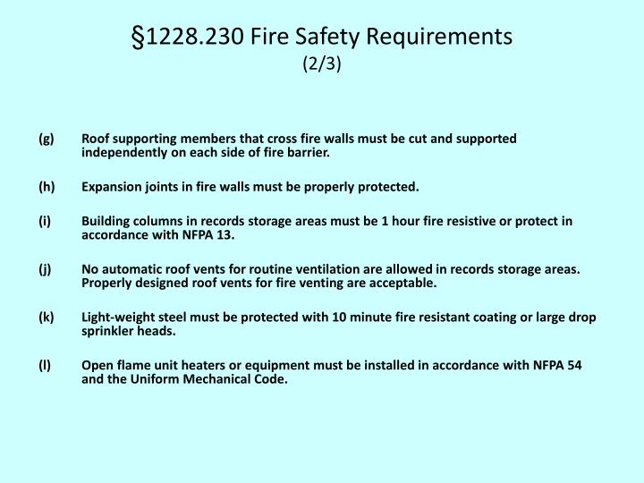 §1228.230 Fire Safety Requirements