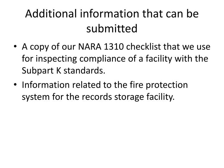 Additional information that can be submitted