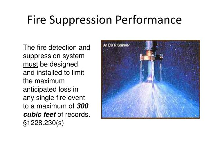 Fire Suppression Performance