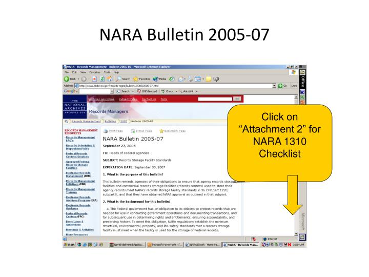NARA Bulletin 2005-07