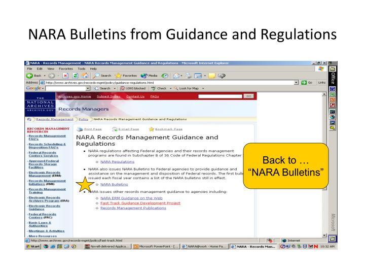 NARA Bulletins from Guidance and Regulations