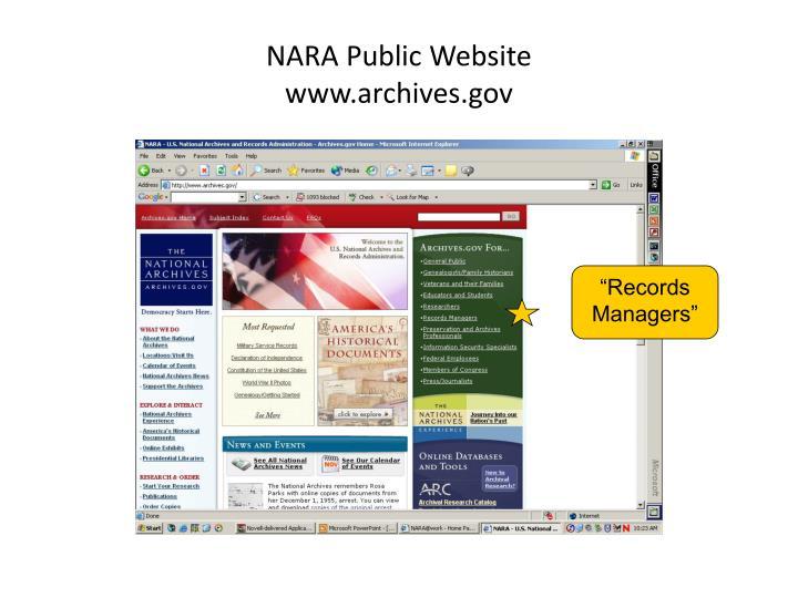 NARA Public Website