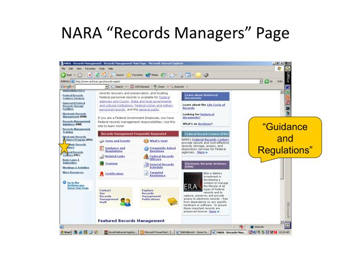 """NARA """"Records Managers"""" Page"""