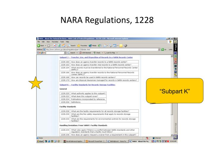 NARA Regulations, 1228