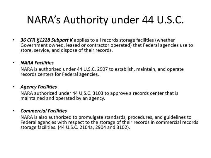 NARA's Authority under 44 U.S.C.