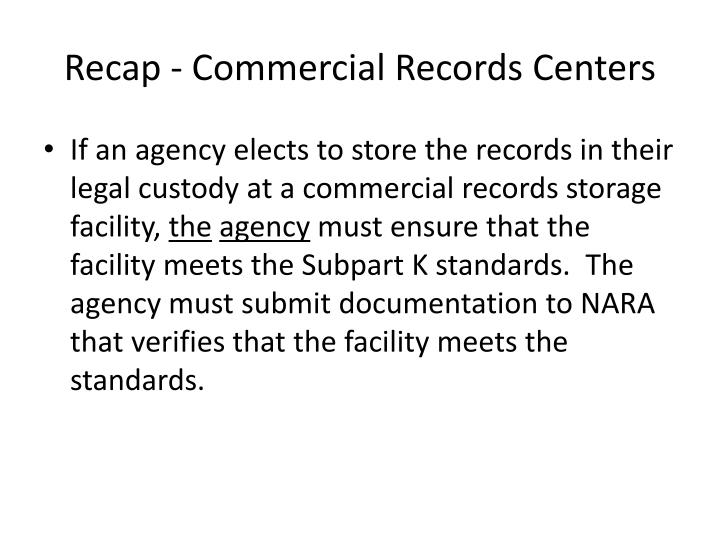 Recap - Commercial Records Centers