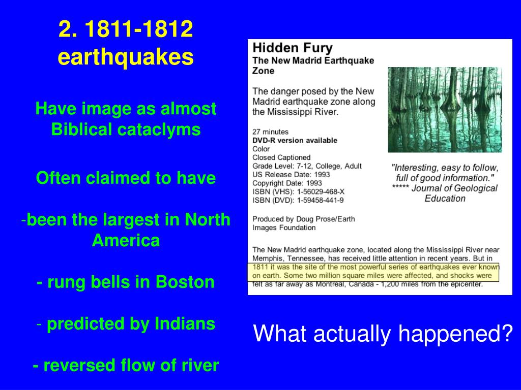 2. 1811-1812 earthquakes