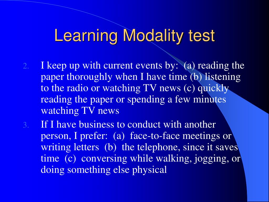 Learning Modality test