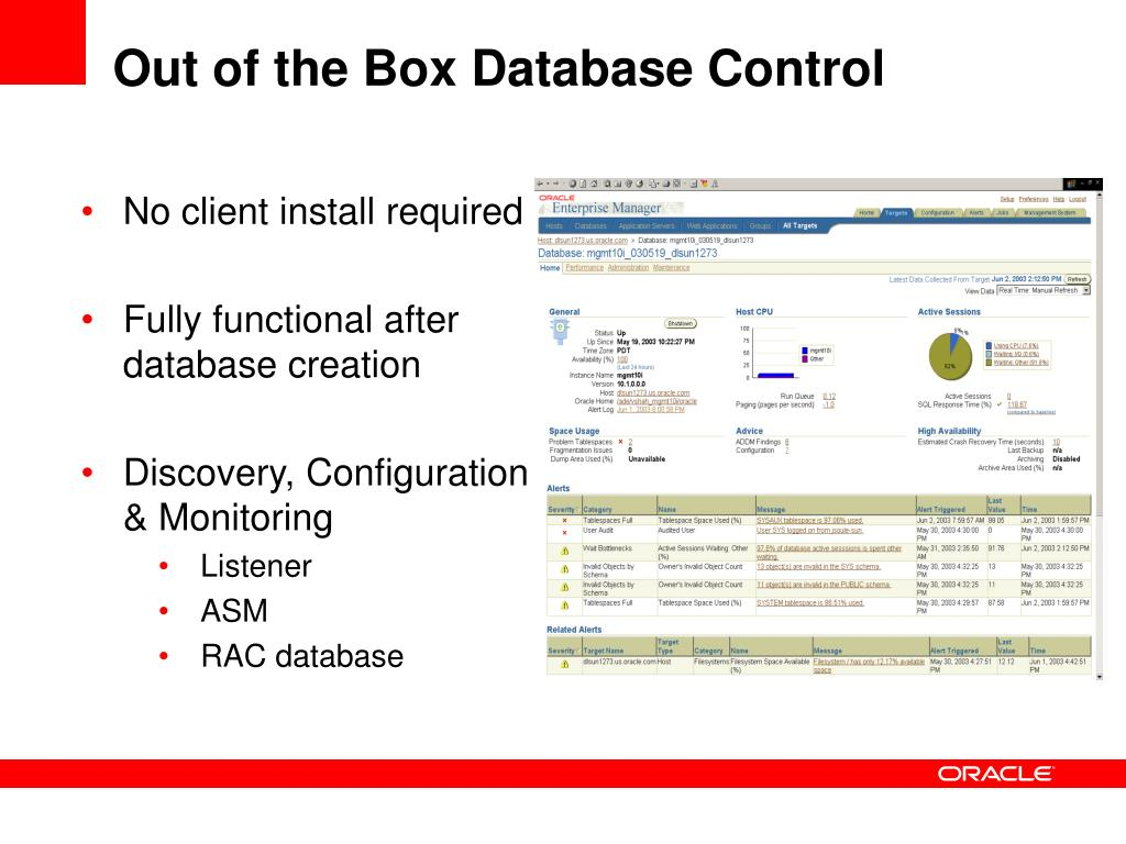 Out of the Box Database Control