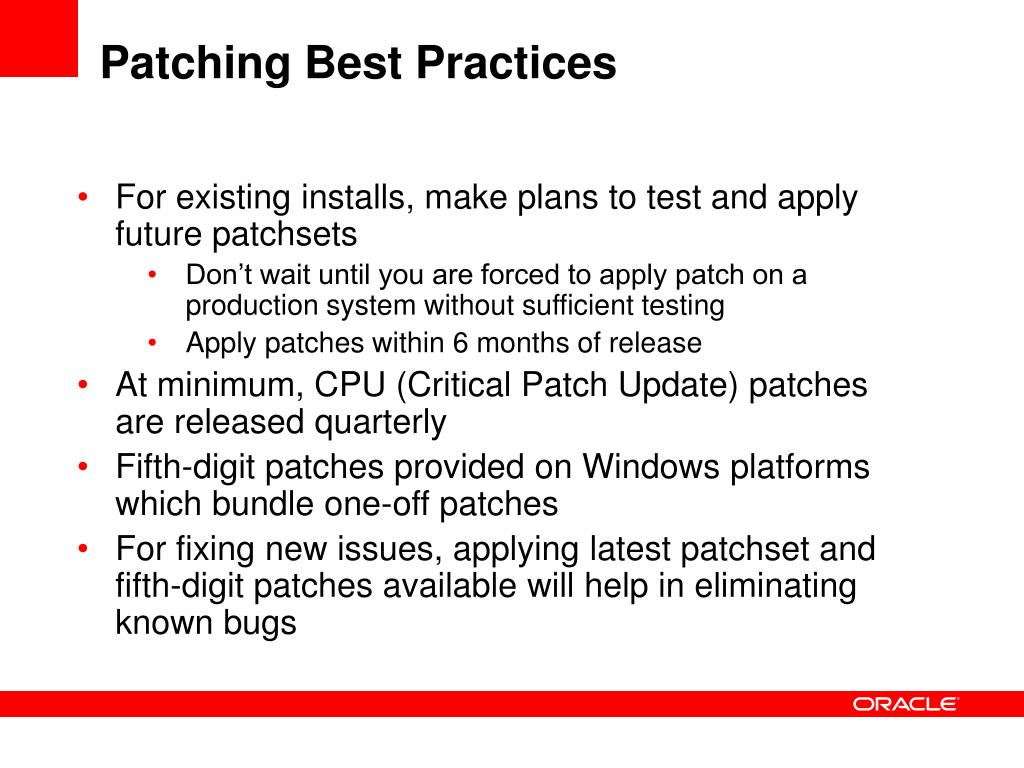 Patching Best Practices