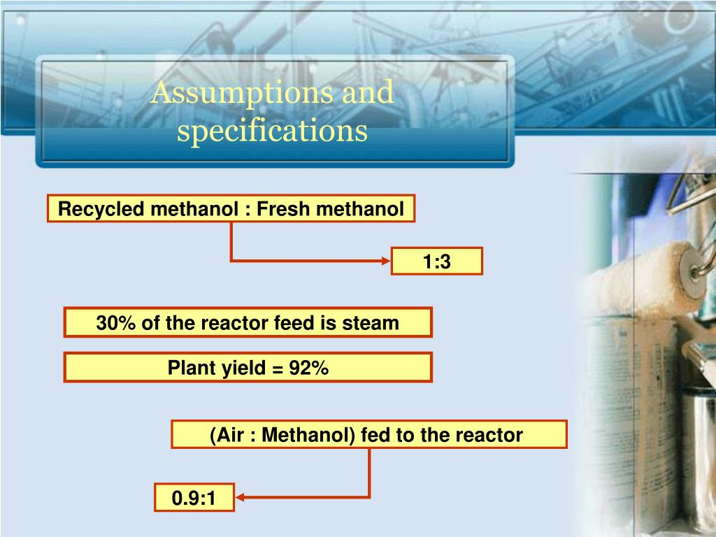 Recycled methanol : Fresh methanol