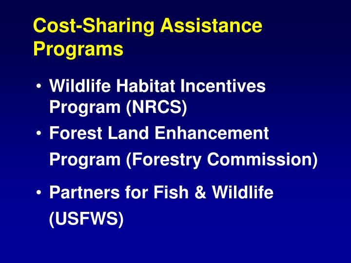 Cost-Sharing Assistance Programs