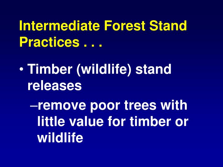 Intermediate Forest Stand Practices . .