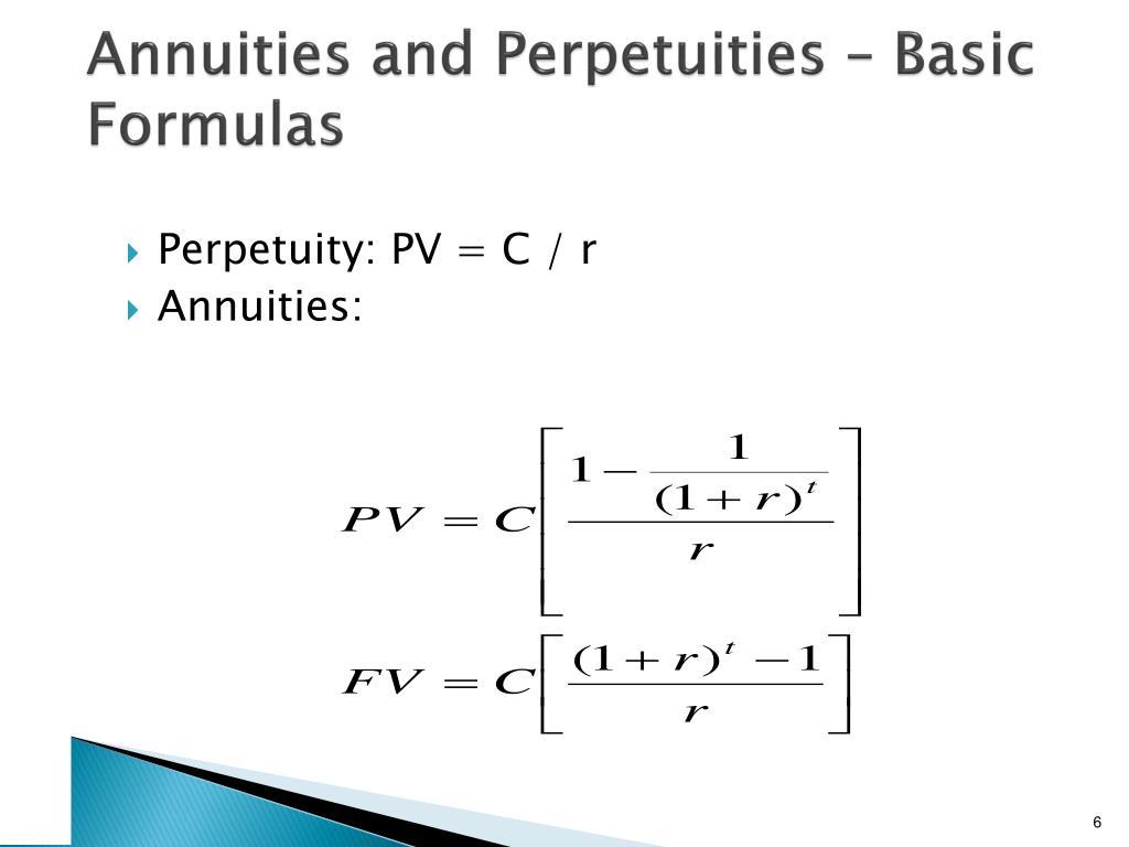Annuities and Perpetuities – Basic Formulas