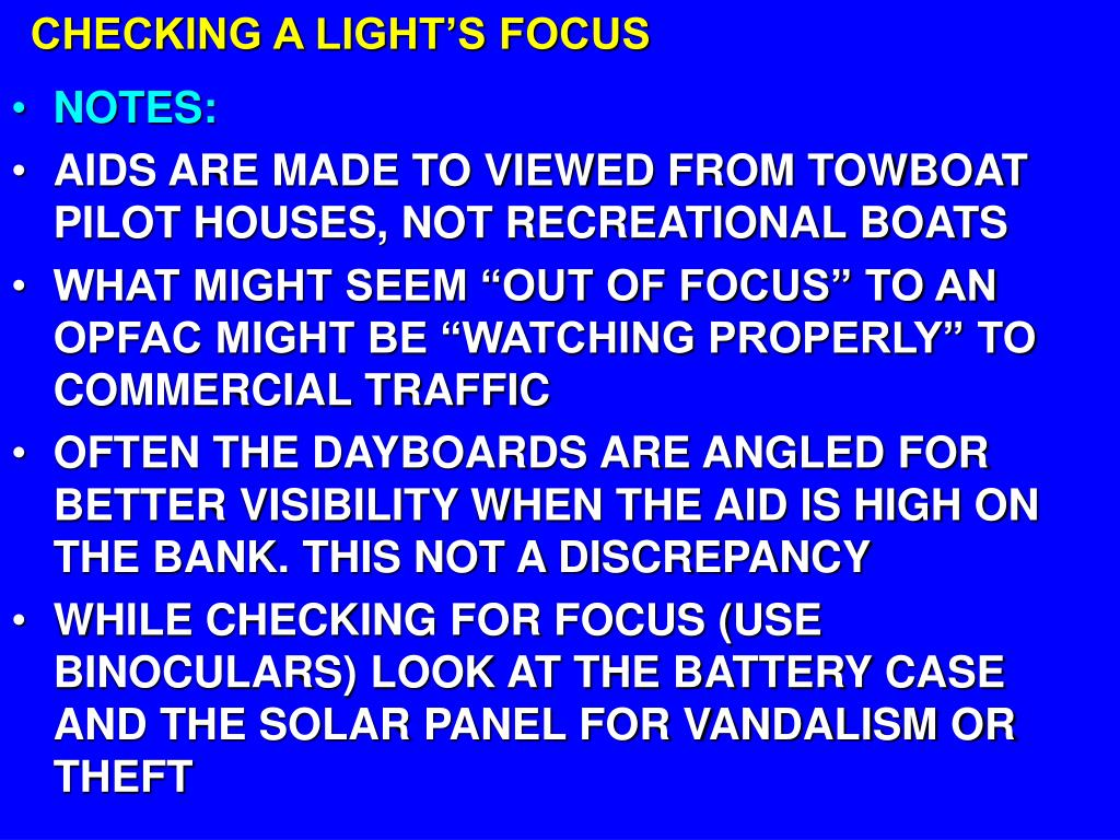 CHECKING A LIGHT'S FOCUS
