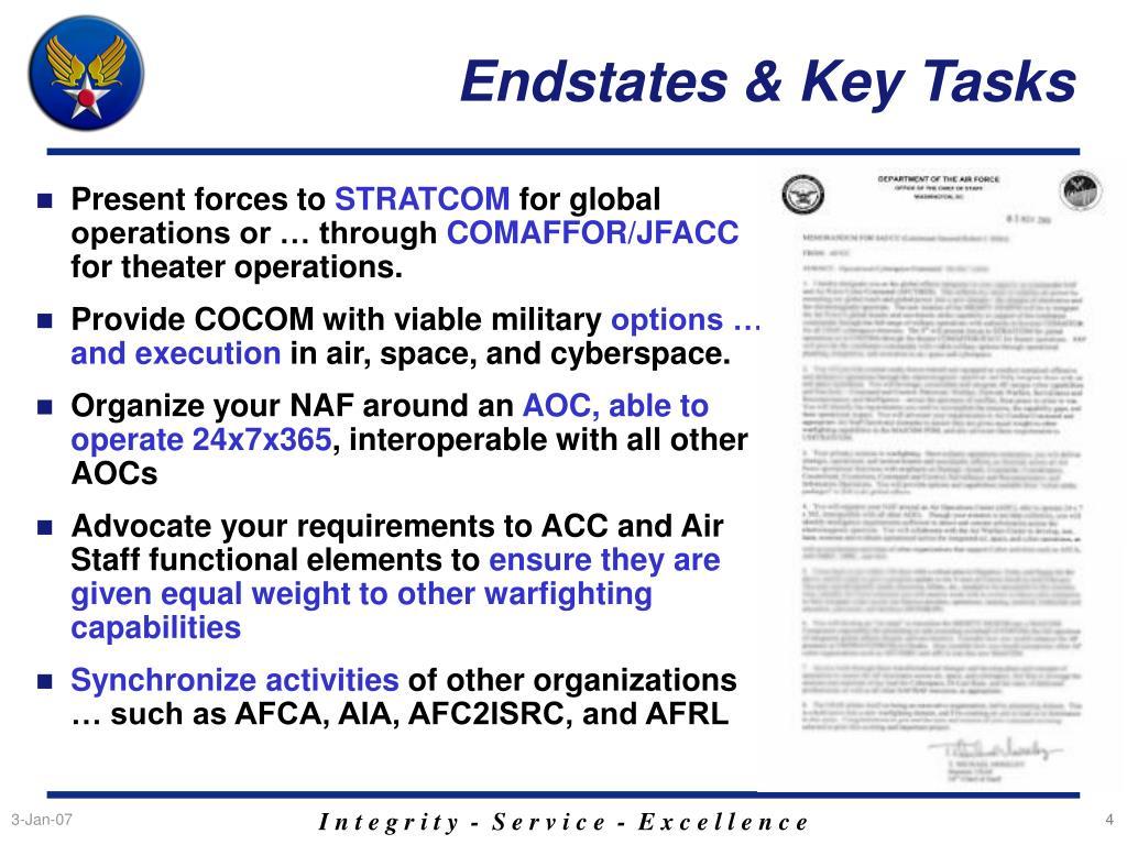 Endstates & Key Tasks