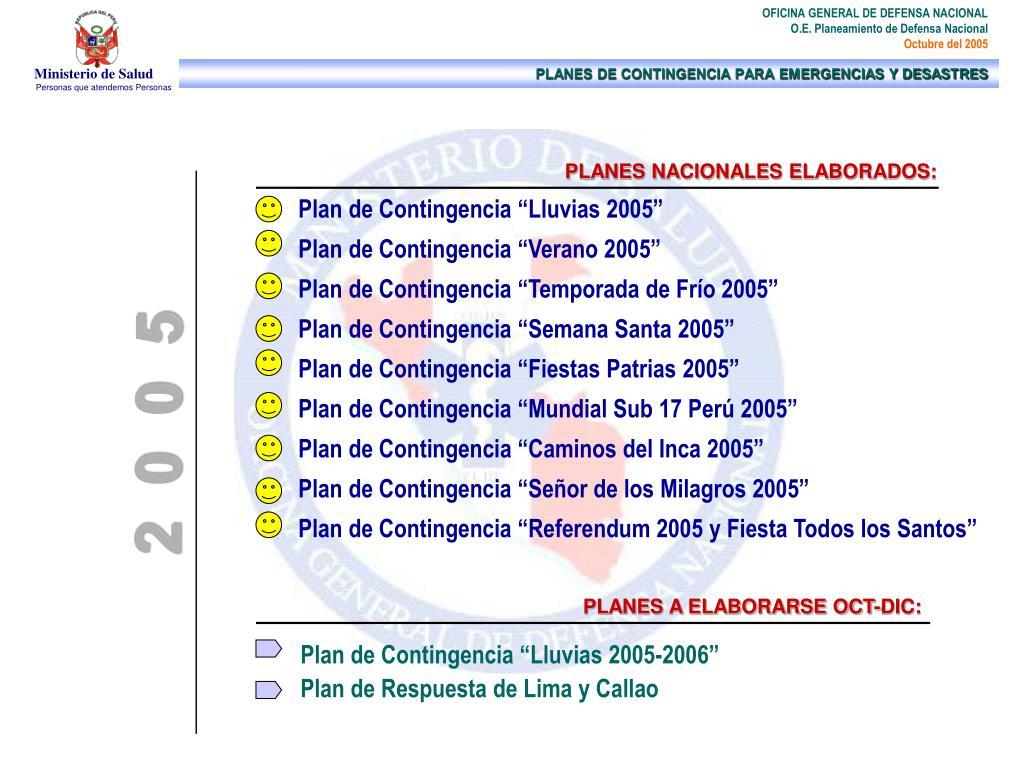 PLANES NACIONALES ELABORADOS:
