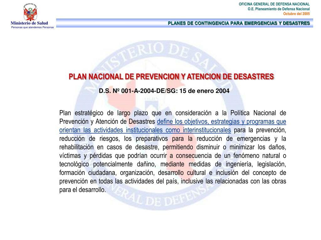 PLAN NACIONAL DE PREVENCION Y ATENCION DE DESASTRES
