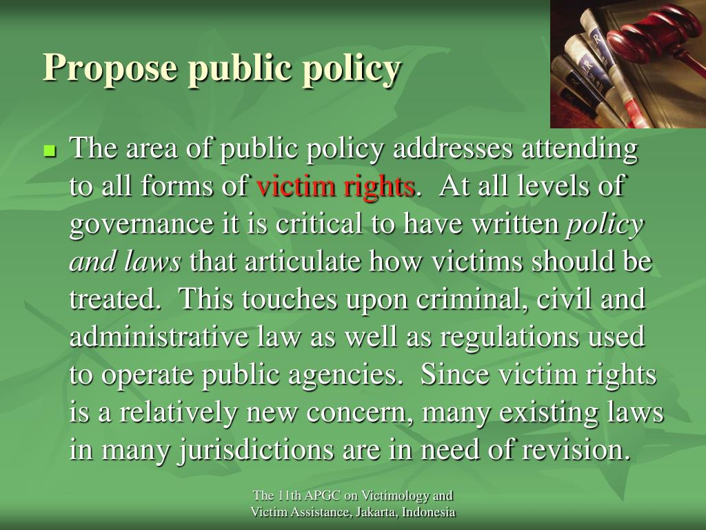 Propose public policy