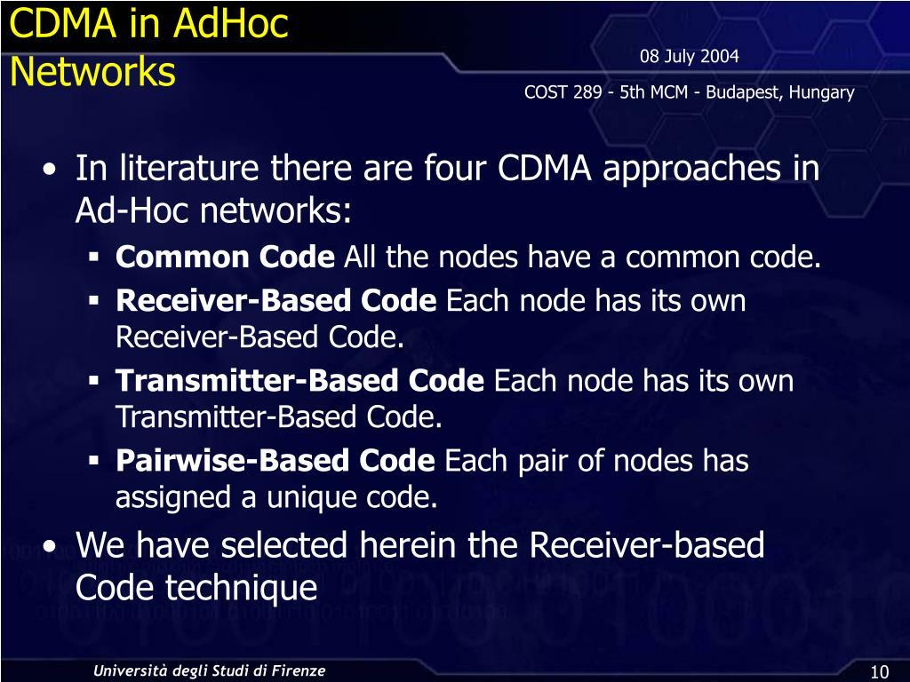 CDMA in AdHoc Networks