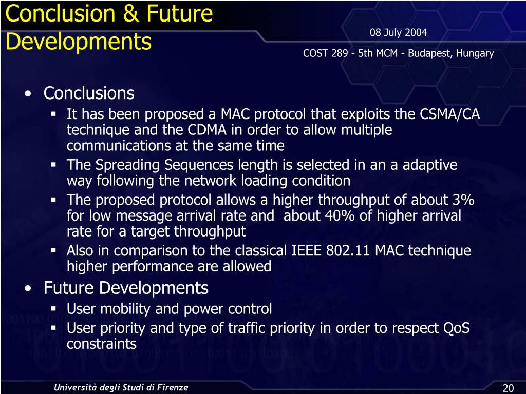 Conclusion & Future Developments