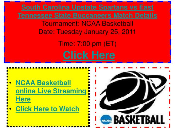 South Carolina Upstate Spartans vs East Tennessee State Buccaneers Match Details