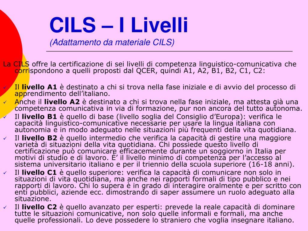 CILS – I Livelli