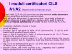 i moduli certificatori cils a1 a2 adattamento da materiale cils